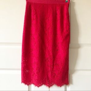 H&M Red Lace Pencil Skirt/Size 8